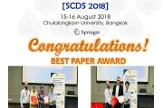 Congratulations! Best Paper Award - Soft Computing in Data Science 2018 (SCDS2018)